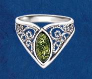 Green Amber Filigree Ring