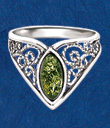Green Amber Filigree Ring