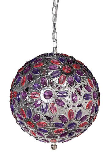 Pink & Purple Jeweled Hanging Globe
