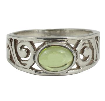 Peridot Scroll Ring