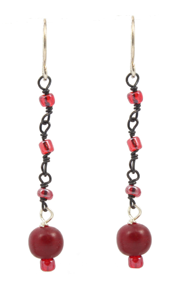 Red Horn Dangle Earrings