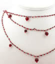 Three Strand Red Glass Beaded Necklace