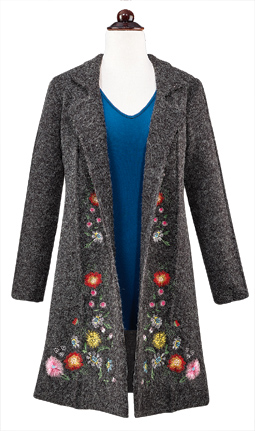 Autumn Flowers Sweater Coat