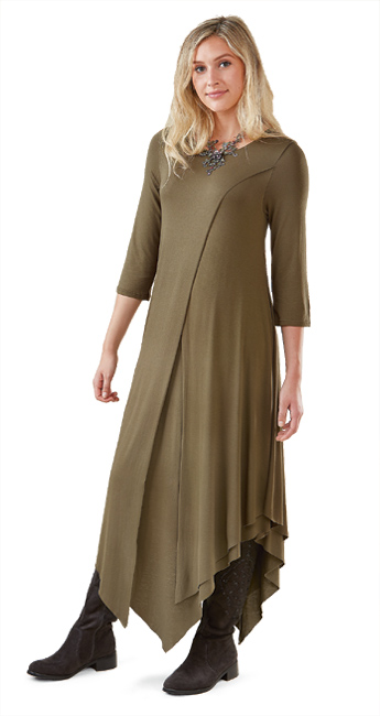 Olive Jersey Layered Dress