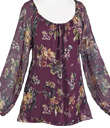 Floral Silk Peasant Top