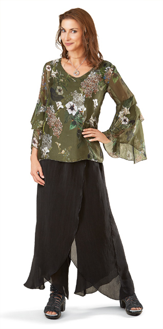 Olive Floral Bell-Sleeve Top