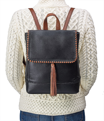 Leather Backpack Purse with Tassel
