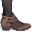 Strappy Wingtip Ankle Boots