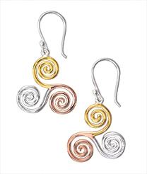 Tri-Colour Spiral Earrings