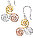 Tri-Colour Spiral Earrings