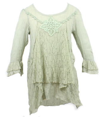3/4 Sleeve Lacy Bib Top
