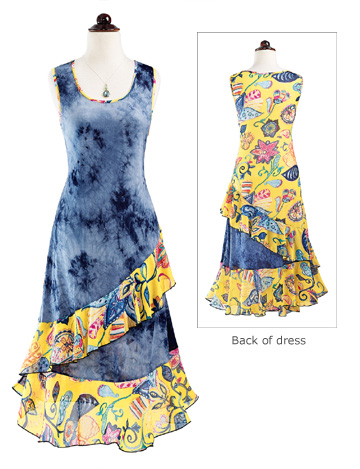 Blue & Yellow Ruffled Dress