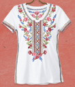 Embroidered Flowers Tee Shirt
