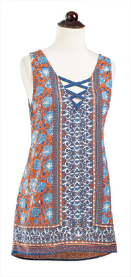 Blue & Orange Top with Criss-Cross Straps