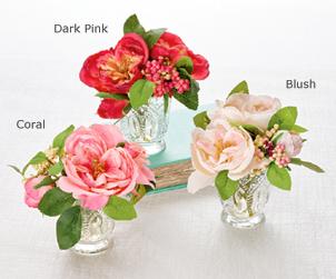 Silky Roses in Glass Vase