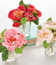 Silky Roses in Glass Vase