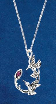 Hummingbirds and Rhodolite Pendant