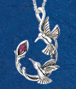 Hummingbirds and Rhodolite Pendant