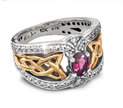 Two-Tone Ring with Rhodolite