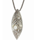 Silver Leaf with Pearl Pendant