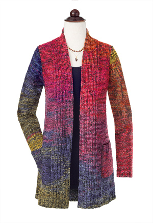Colorful Open-Front Cardigan