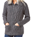 Zippered Aran Sweater