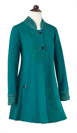 Knit Coat with Soutache Flowers