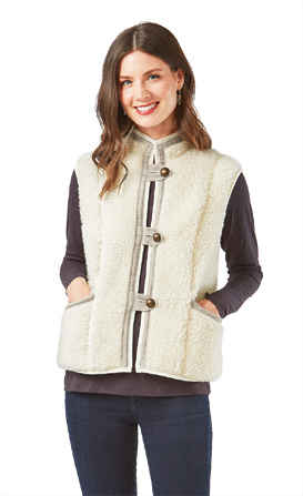 Natural Wool Fleece Vest