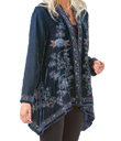 Midnight-Blue Velvet Embroidered Jacket
