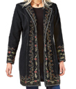 Embroidered Black Twill Coat