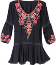 Embroidered Drop-Waist Tunic