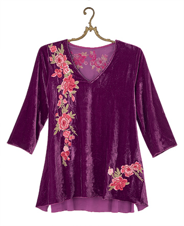 Amethyst Velvet Embroidered Tunic