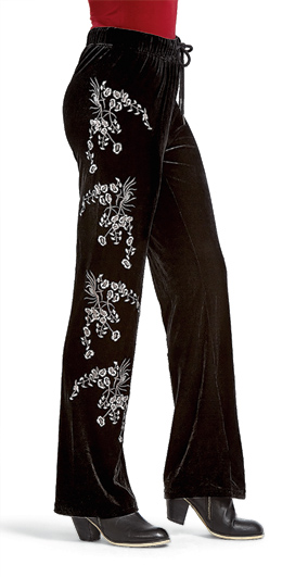 Embroidered Black Velvet Pants
