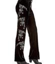 Embroidered Black Velvet Pants