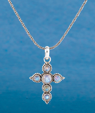 Rustic Moonstone Cross
