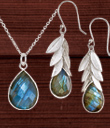 Silver Leaves & Labradorite Jewelry