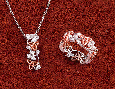 Knot and Sparkling Shamrock Jewelry