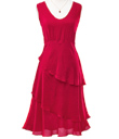 Vivid Red Tiered Dress