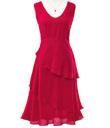 Vivid Red Tiered Dress