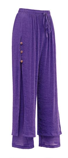 Button-Leg Gauze Pants