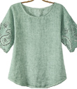Silver Sage Eyelet Linen Top