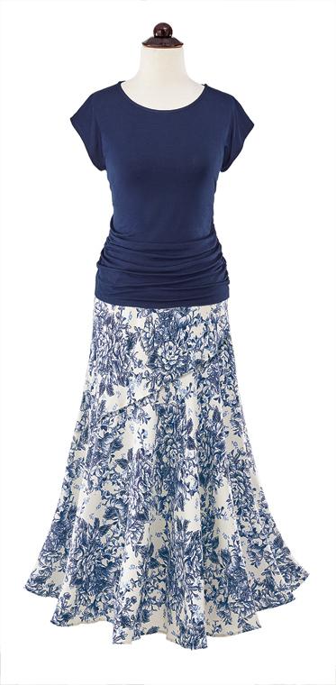 Navy Top & Toile Skirt