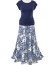 Navy Top & Toile Skirt