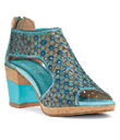 Turquoise Flower Gladiator Shoes