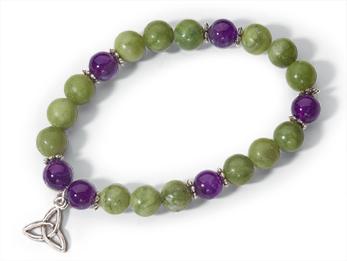 Connemara Marble & Amethyst Stretch Bracelet