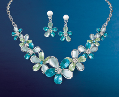 Blue Blossoms Necklace and Earrings Set