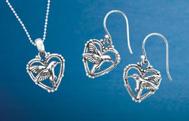 Hummingbird & Heart Jewelry