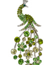 Green Crystal Peacock Pin