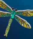 Emerald Crystal Dragonfly Pin