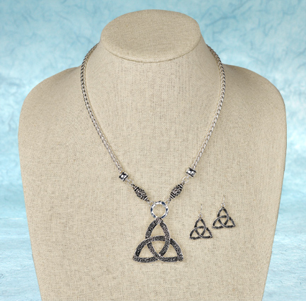 Trinity Knot Necklace and Earrings Set